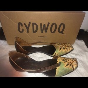 Handmade in CA, leather flats by Cydwoq